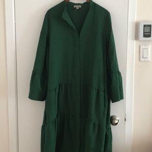 Green midi length dress, ruffle detailing